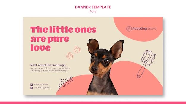 Poziomy szablon banera do adopcji zwierząt domowych z psem