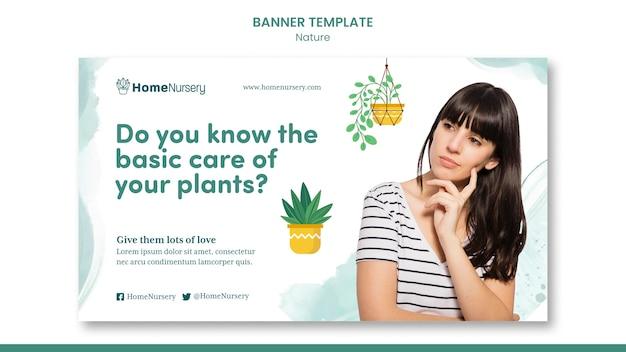 Poziomy szablon transparentu do pielęgnacji roślin doniczkowych z kobietą