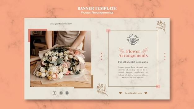 Poziomy szablon transparentu do sklepu z kompozycjami kwiatowymi