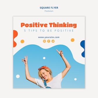 Pozytywne myślenie kwadratowy projekt ulotki