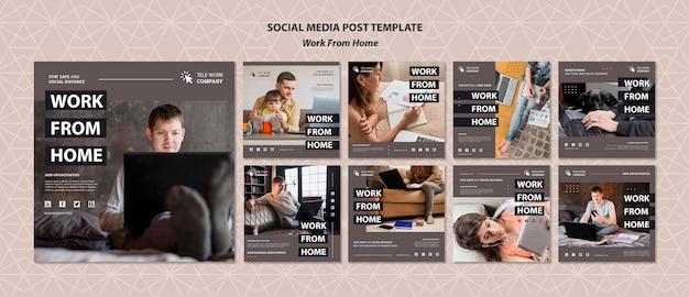 Praca w domu koncepcja szablon postu w mediach społecznościowych