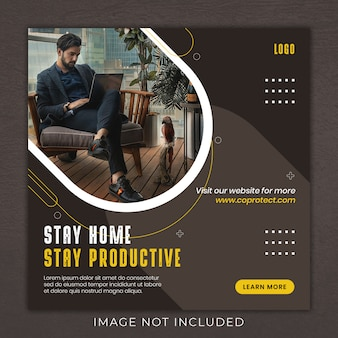 Praca w domu social media instagram szablon transparent post