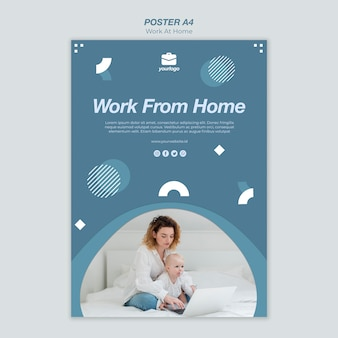 Praca z domu plakat szablon