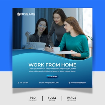 Praca z domu social media post banner