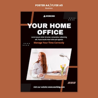 Praca z domu szablon plakatu