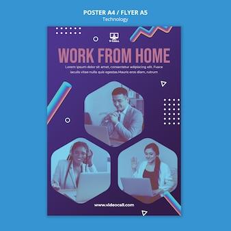 Pracuj zdalnie szablon plakatu