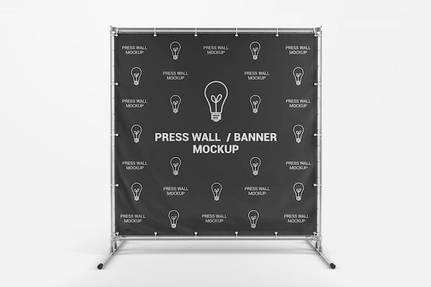 Prasa kwadratowa transparent ściana makieta widok z przodu