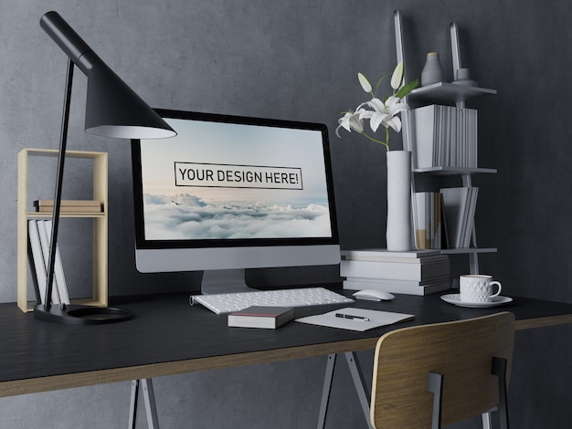 Premium desktop computer mockup szablon projektu z edytowalnym ekranem w czarnym nowoczesnym wnętrzu przestrzeni roboczej