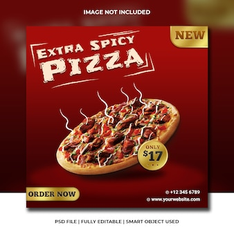 Premium fast food pizza czerwony szablon mediów społecznościowych