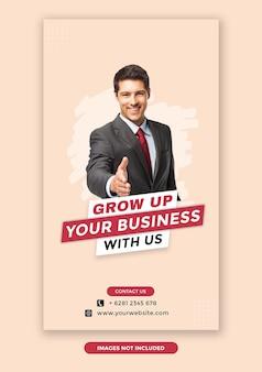 Premium grow up your business instagram stories szablon banera