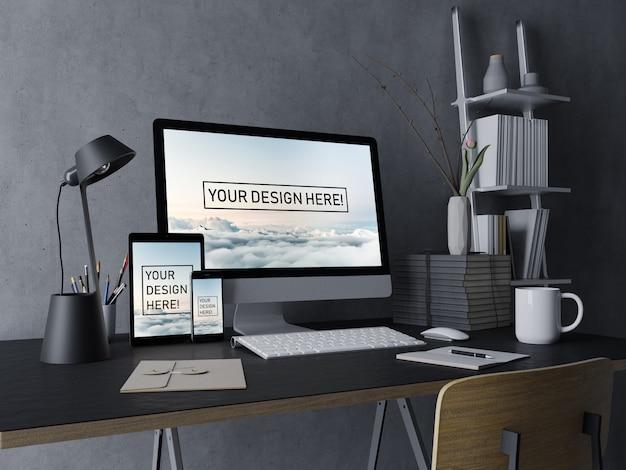 Premium pc, laptop, tablet i smartfon zestaw szablonów makiet z edytowalnym wyświetlaczem w eleganckiej czarnej przestrzeni roboczej