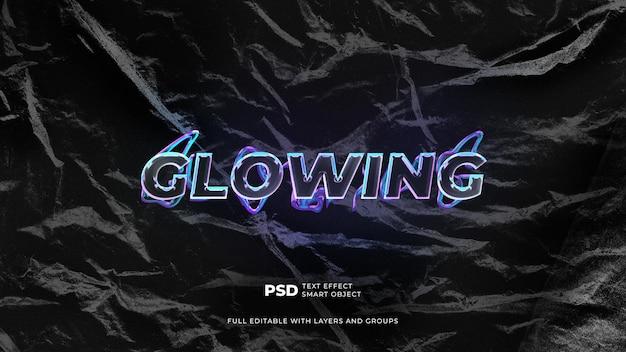 Premium text effect neon glowing szablon