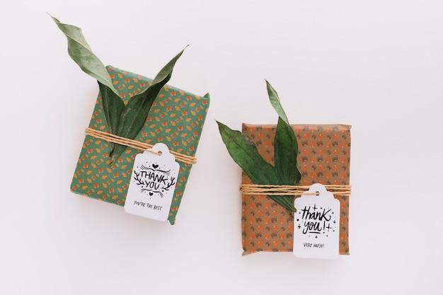 Present box makieta z liśćmi