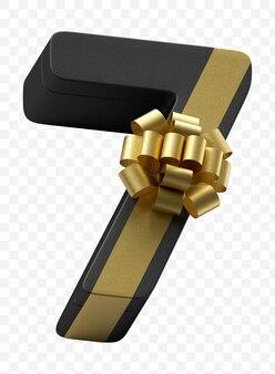 Prezent alfabetu numer 7 zawinięty w ciemny czarny papier z luksusową złotą kokardą na białym tle plik psd
