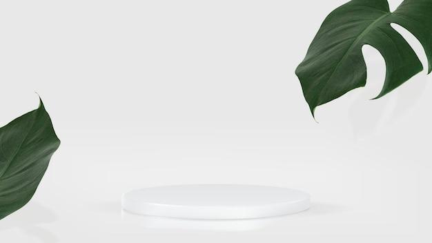 Prezentacja produktu 3d w tle psd z białym podium i liściem monstera