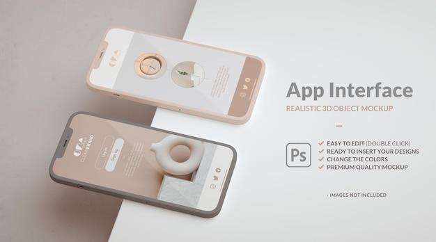 Prezentacja wyglądu i działania aplikacji na dwóch makietach telefonów i przestrzeni kopii.