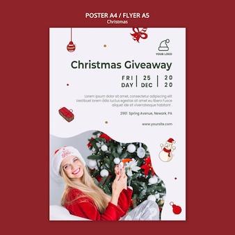 Prezenty świąteczne plakat szablon sklepu