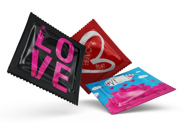 Prezerwatywy makiety na białym tle