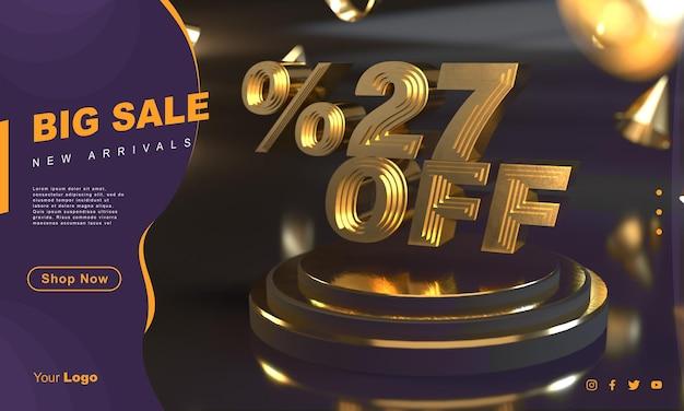 Procent 27 złoty szablon transparentu sprzedaży nad złotym cokołem z ciemnym tłem