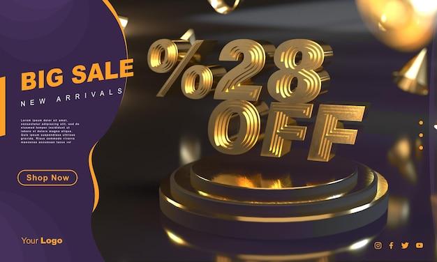 Procent 28 złoty szablon transparentu sprzedaży nad złotym cokołem z ciemnym tłem