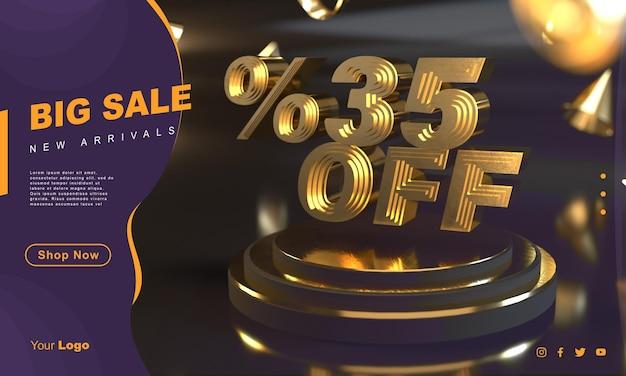 Procent 35 złoty szablon transparentu sprzedaży nad złotym cokołem z ciemnym tłem