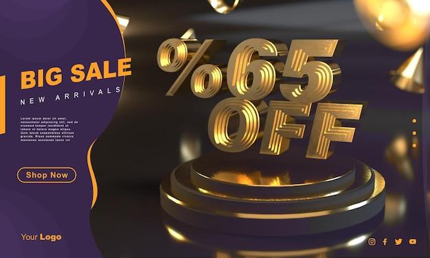 Procent 65 złoty szablon transparentu sprzedaży nad złotym cokołem z ciemnym tłem