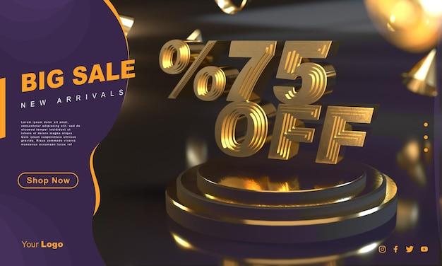 Procent 75 złoty szablon transparentu sprzedaży nad złotym cokołem z ciemnym tłem