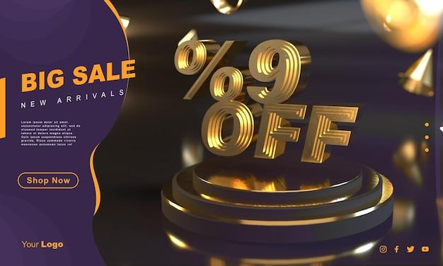 Procent 9 złoty szablon transparentu sprzedaży nad złotym cokołem z ciemnym tłem