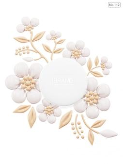 Produkt kosmetyczny i podkład w kształcie kwiatu na białym tle