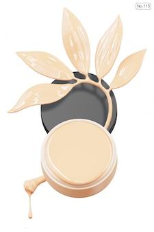 Produkt kosmetyczny i podkład w kształcie liścia na białym tle. renderowanie 3d