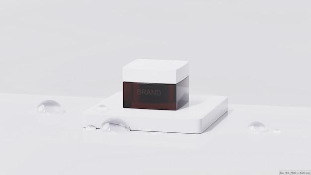 Produkt kosmetyczny na białym podium z bańką wodną. renderowanie 3d
