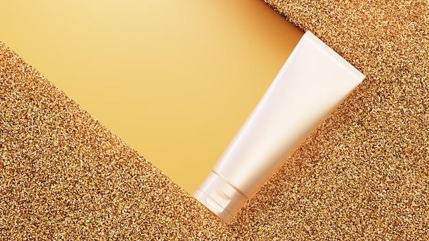 Produkt kosmetyczny na tle złotego brokatu. renderowanie 3d