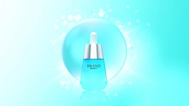 Produkt kosmetyczny z bąbelkiem z niebieską wodą