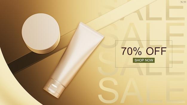 Produkt kosmetyczny z czcionką sprzedaży na złoto