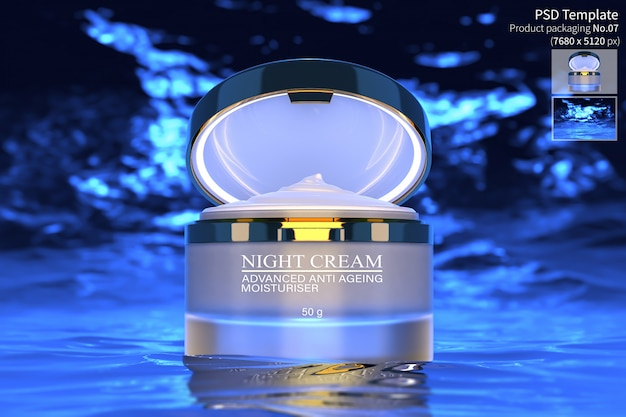 Produkt krem do pielęgnacji skóry nocy izolować na ciemnym niebieskim tle wody 3d render