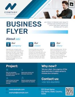 Profesjonalna ulotka biznesowa niebieski nowoczesny design