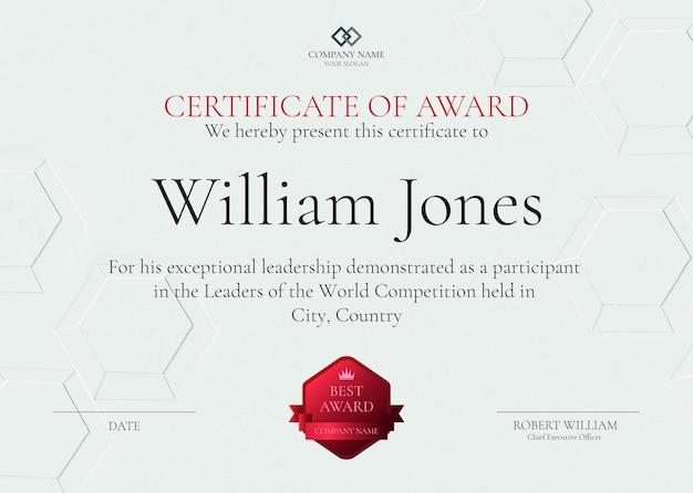 Profesjonalny szablon certyfikatu nagrody psd w białym abstrakcyjnym projekcie
