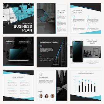 Profesjonalny szablon prezentacji biznesowej psd zestaw postów w mediach społecznościowych