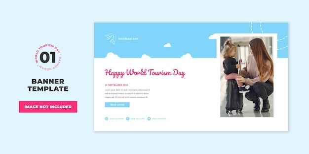 Profesjonalny szablon transparent szablon koncepcja światowego dnia turystyki
