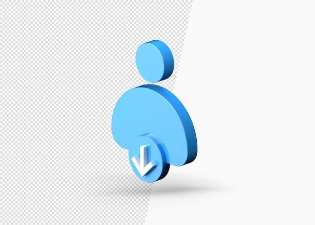 Profil firmy w dół lub zmniejsz 3d ikonę koncepcji