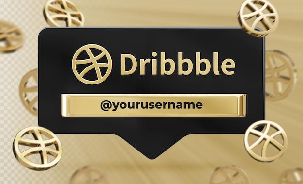 Profil ikona transparent na dribbble 3d renderowania etykiety na białym tle