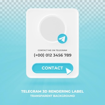 Profil ikona transparentu na baner renderowania 3d telegramu na białym tle