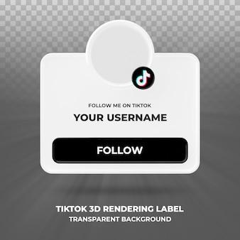 Profil ikona transparentu na baner renderowania 3d tiktok na białym tle