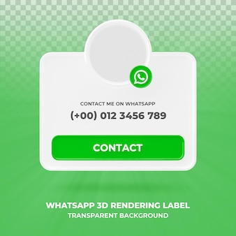 Profil ikona transparentu na baner renderowania 3d whatsapp na białym tle