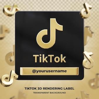 Profil ikona transparentu na etykiecie renderowania 3d tiktok na białym tle