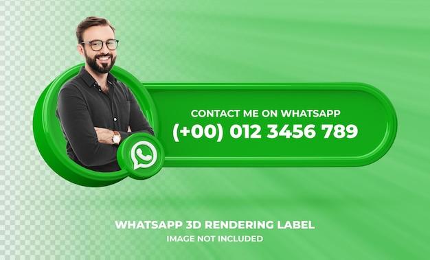 Profil ikona transparentu na etykiecie renderowania 3d whatsapp na białym tle