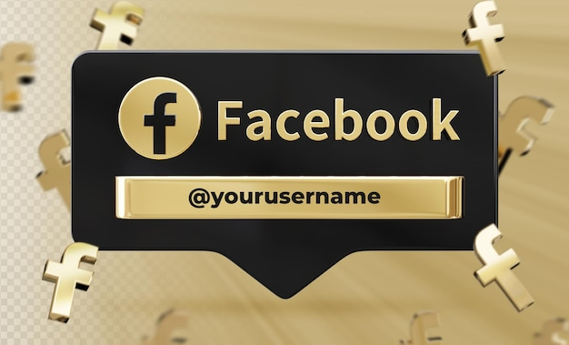 Profil ikona transparentu na facebooku 3d renderowania etykiety na białym tle