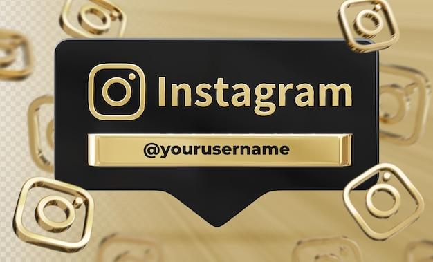 Profil ikona transparentu na instagramie 3d renderowania etykiety na białym tle