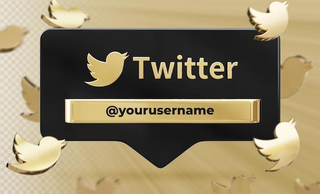 Profil ikona transparentu na twitterze 3d renderowania etykiety na białym tle