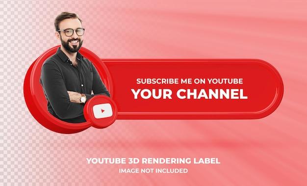 Profil ikona transparentu na youtube 3d renderowania etykiety na białym tle
